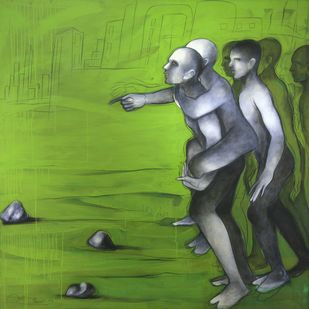 Untitled 14 by Amit Dutt, Expressionism Painting, Acrylic on Canvas, Green color