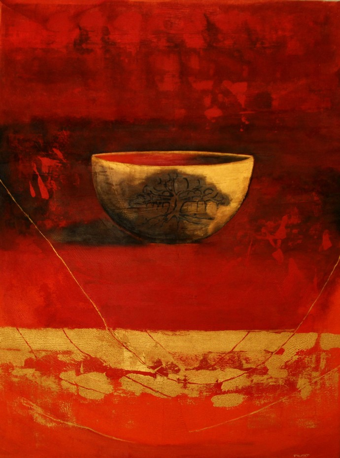 Bhiksham Dehi III by Pratap SJB Rana, Fantasy, Impressionism Painting, Acrylic on Canvas, Red color