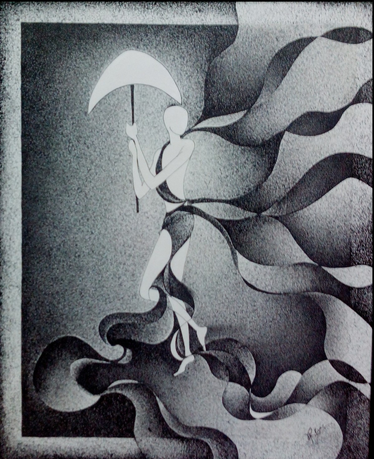 Rhythm by Reena Tomar, Illustration Painting, Pen & Ink on Canvas, Gray color