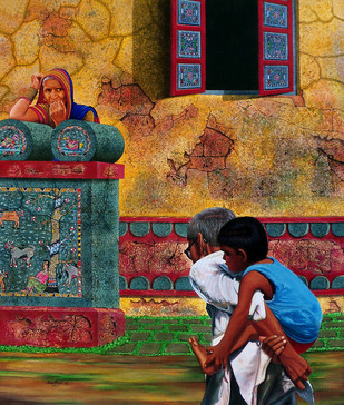 THE LIFE OF BEAUTY by SANTHOSH D ANDRADE, Impressionism Painting, Acrylic on Canvas,