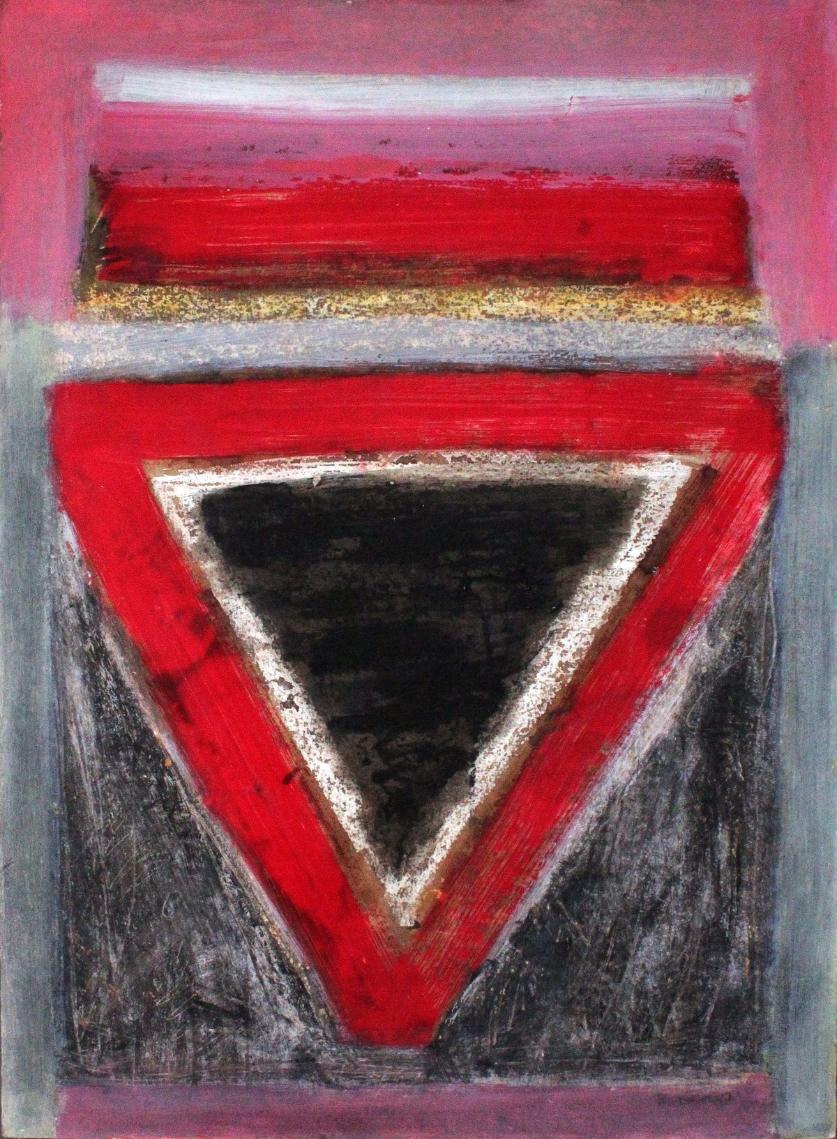 Triangle by Bhaskar Hande, Abstract Painting, Acrylic & Ink on Paper, Brown color