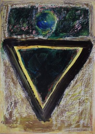 Triangle 2 by Bhaskar Hande, Abstract Painting, Acrylic & Ink on Paper, Brown color