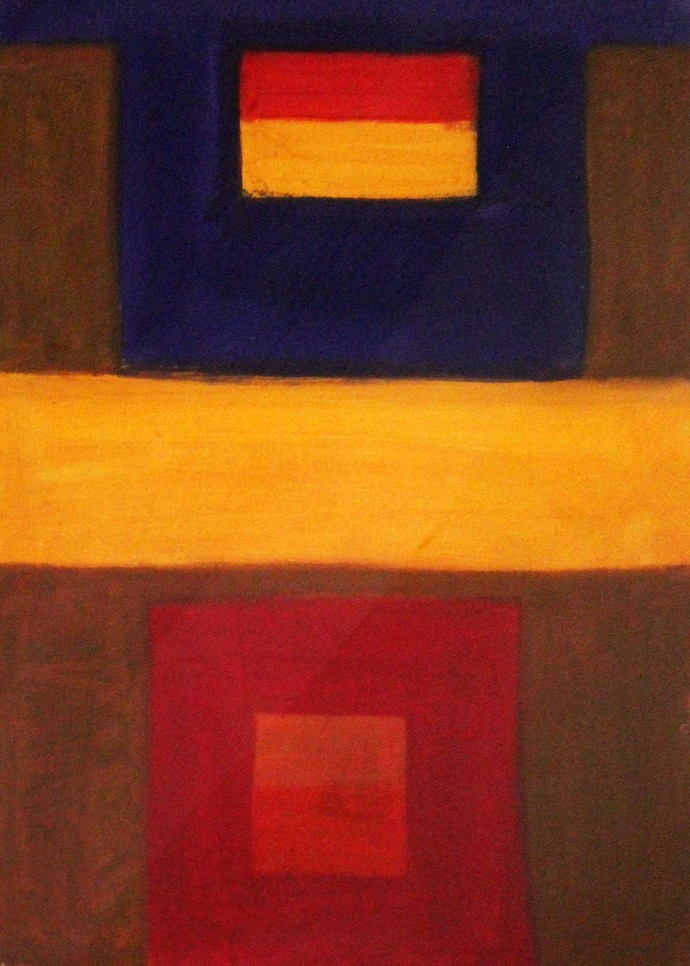 square by Bhaskar Hande, Abstract Painting, Acrylic on Paper, Brown color