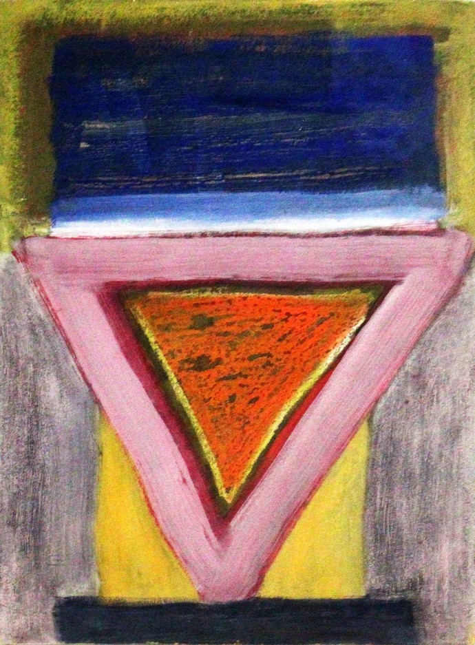 Triangle 3 by Bhaskar Hande, Abstract Painting, Acrylic on Paper, Brown color
