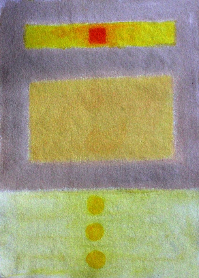Yellow and Grey by Bhaskar Hande, Abstract Painting, Acrylic on Paper, Beige color