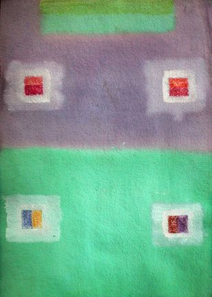 Four Square 2 by Bhaskar Hande, Abstract Painting, Acrylic on Paper, Green color