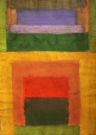 Green and orange by Bhaskar Hande, Abstract Painting, Acrylic on Paper, Brown color