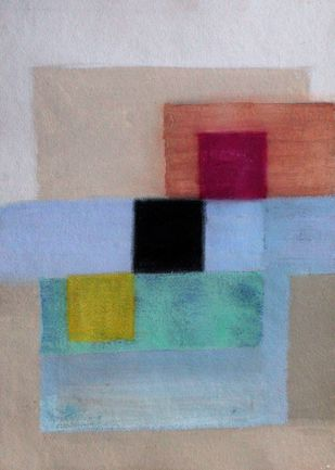 square roots by Bhaskar Hande, Abstract Painting, Acrylic on Paper, Brown color