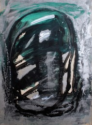 Paper 7 by Bhaskar Hande, Abstract Painting, Acrylic on Paper, Gray color