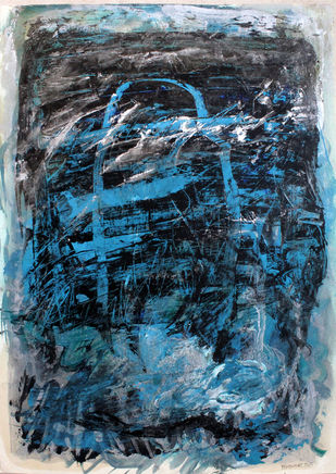 Paper 12 by Bhaskar Hande, Abstract Painting, Acrylic on Paper, Green color