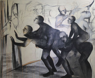 Lambi Ghodhi by Amit Dutt, Expressionism Painting, Acrylic on Canvas, Gray color