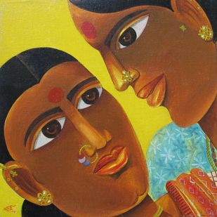 Untitled by Laxman Aelay, Traditional Painting, Oil on Canvas Board, Brown color