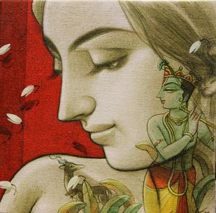 Couple I by Sukanta Das, Impressionism Painting, Mixed Media on Canvas, Red color