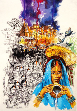 Chhath Puja by Shambhu Nath Goswami, Traditional Painting, Mixed Media on Paper, Beige color