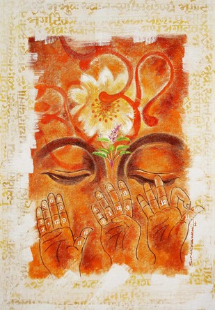 Gyatri Jaap by Shambhu Nath Goswami, Traditional Painting, Mixed Media on Paper, Beige color