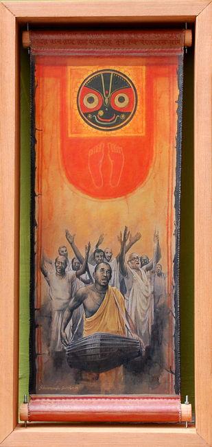 Faith II by Shuvendu Sarkar, Decorative, Folk Painting, Acrylic on Canvas, Brown color
