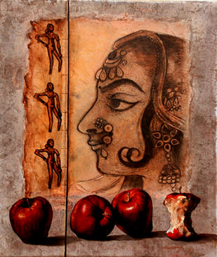 Beauty & The Beast by Shuvendu Sarkar, Expressionism Painting, Acrylic on Canvas, Brown color