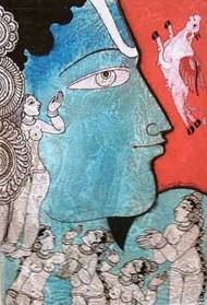 Untitled by Ramesh Gorjala, Folk, Traditional Painting, Mixed Media on Paper, Cyan color