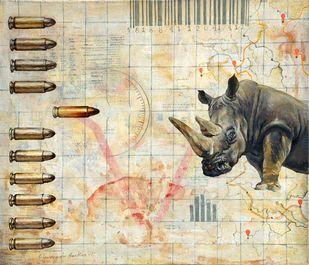 Story of Vanishing Wildlife by Shuvendu Sarkar, Expressionism Painting, Acrylic on Canvas, Beige color