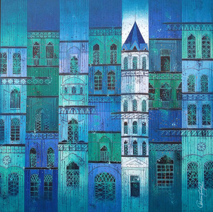 CITY - 787 by Suresh Gulage, Art Deco Painting, Acrylic on Canvas, Blue color