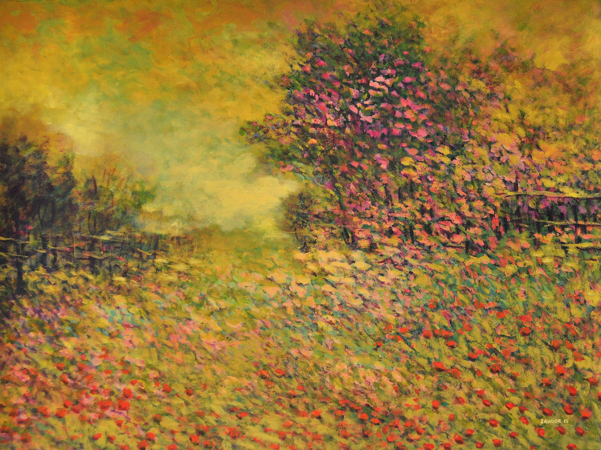 Landscape III by Zargar Zahoor, Impressionism Painting, Acrylic on Canvas, Brown color