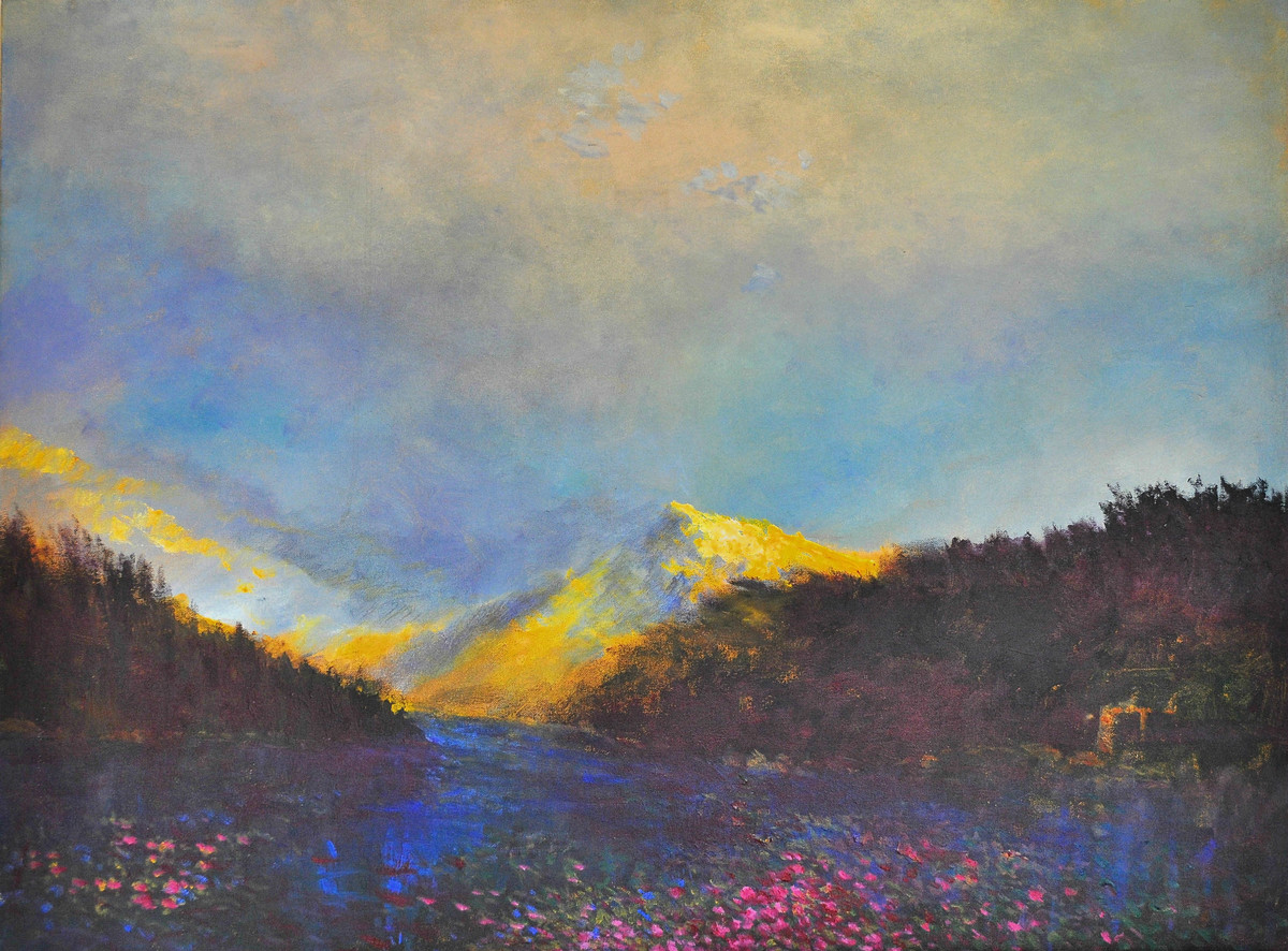Landscape VII by Zargar Zahoor, Impressionism Painting, Acrylic on Canvas, Beige color