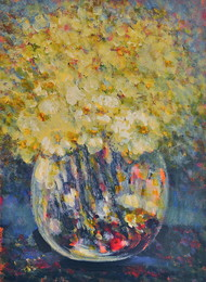 Still Life 9 by Zargar Zahoor, Impressionism Painting, Acrylic on Paper, Beige color