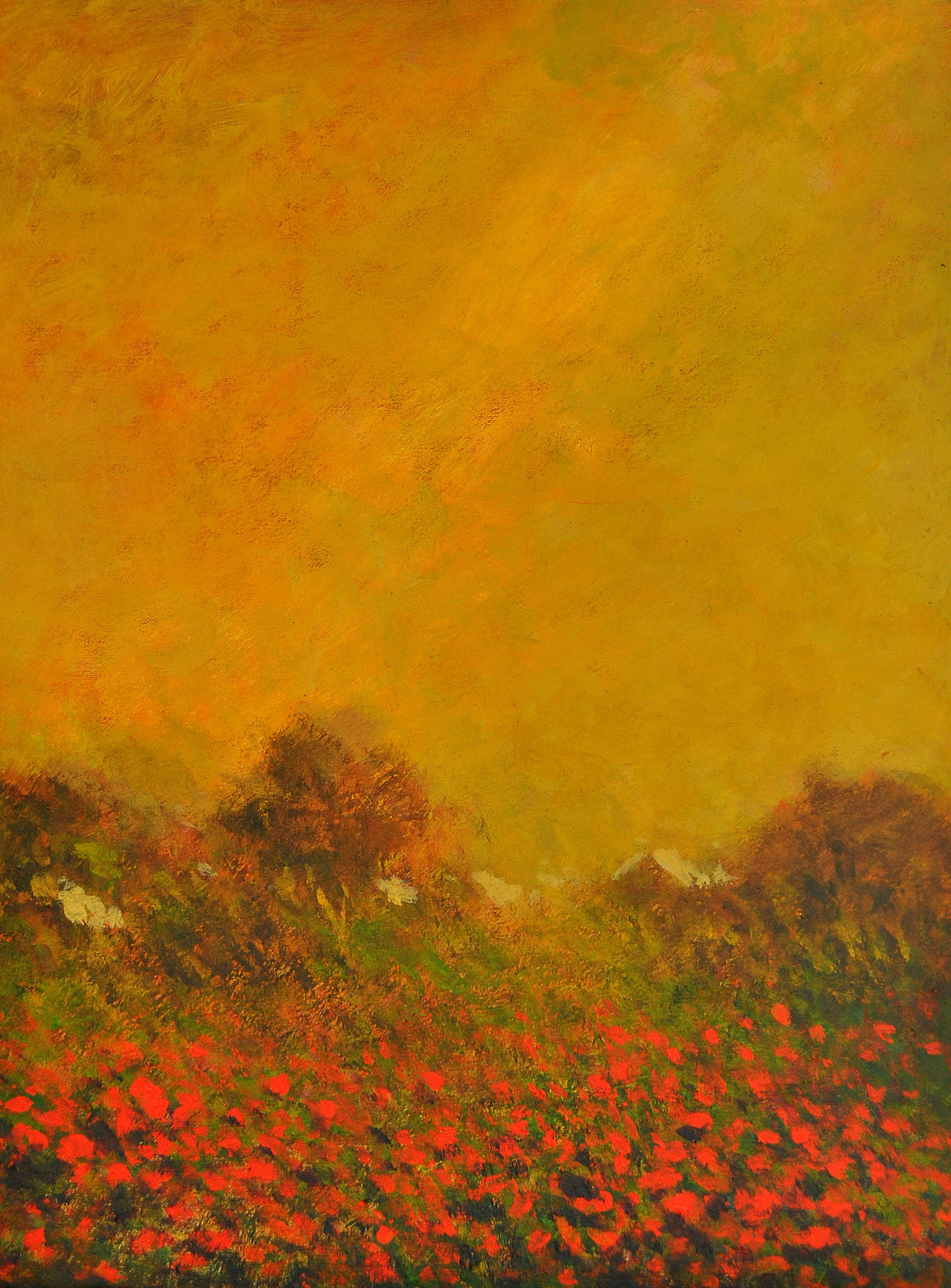 Landscape 3 by Zargar Zahoor, Impressionism Painting, Acrylic on Canvas, Orange color