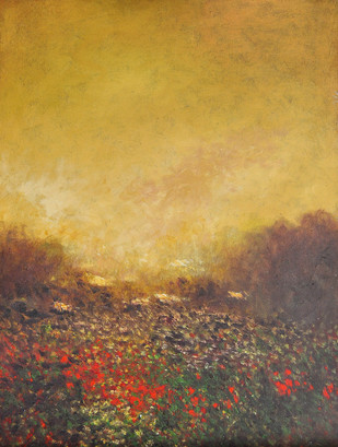 Landscape 4 by Zargar Zahoor, Impressionism Painting, Acrylic on Canvas, Brown color