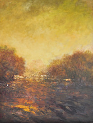 Landscape 7 by Zargar Zahoor, Impressionism Painting, Acrylic on Canvas, Brown color