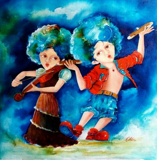 the joy of puppy and chicky by shiv kumar soni, Expressionism, Fantasy Painting, Acrylic on Canvas, Blue color
