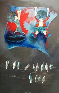 puppy and chicky swinging with kite Digital Print by shiv kumar soni,Expressionism, Fantasy