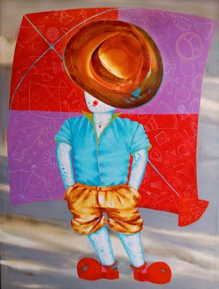 Aureole of the childhood ii by shiv kumar soni, Expressionism Painting, Acrylic on Canvas, Brown color