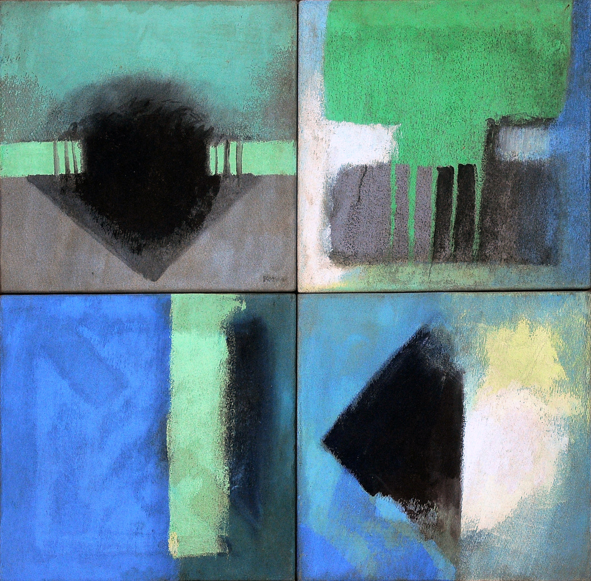 Abstract 01 by Bhaskar Hande, Abstract Painting, Mixed Media on Canvas, Green color