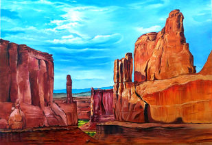 Great Canyon by Prakash Pore, Impressionism Painting, Oil on Canvas, Green color