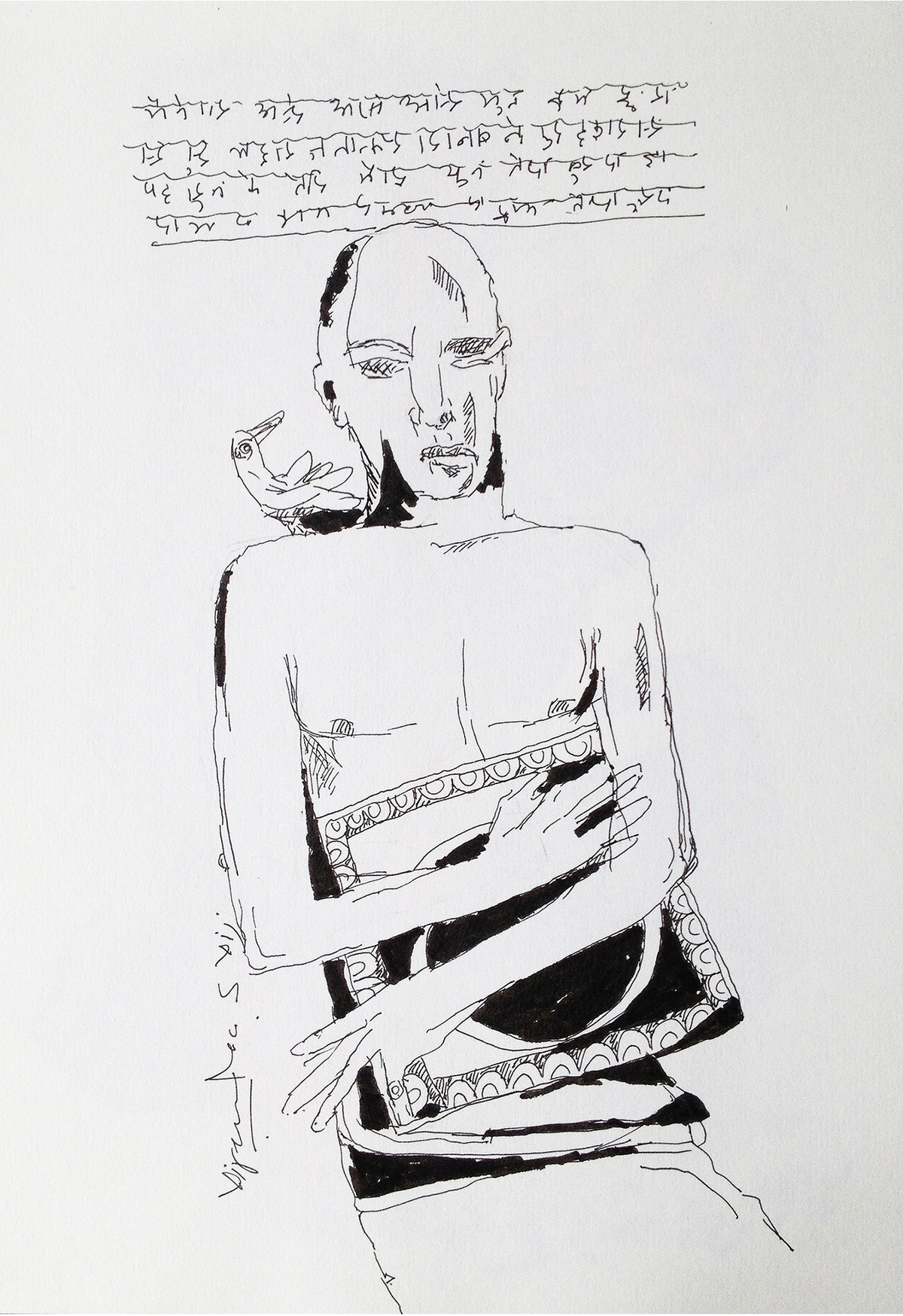 Delusion at Midnight-X by Vijendra S Vij, Illustration Drawing, Acrylic & Ink on Paper, Gray color