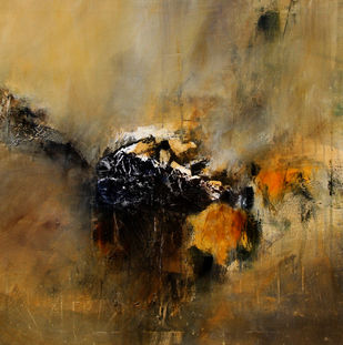 The Sun was on its way by Neena Singh, Abstract Painting, Acrylic on Canvas, Brown color