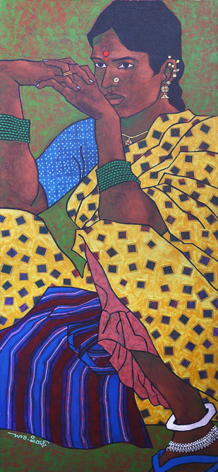 untitled-2 by Chary PS, Expressionism Painting, Acrylic on Canvas, Brown color