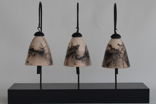 Silent Chimes 1 by Shweta Mansingka, Decorative Sculpture | 3D, Ceramic, Gray color