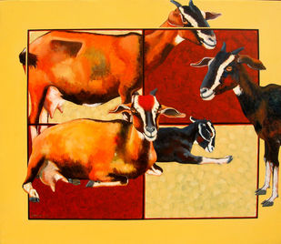 FAMILY-III by SK NUR ALI, Decorative Painting, Acrylic on Canvas, Orange color