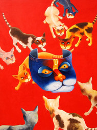 CURIOSITY by SK NUR ALI, Decorative Painting, Acrylic on Canvas, Red color