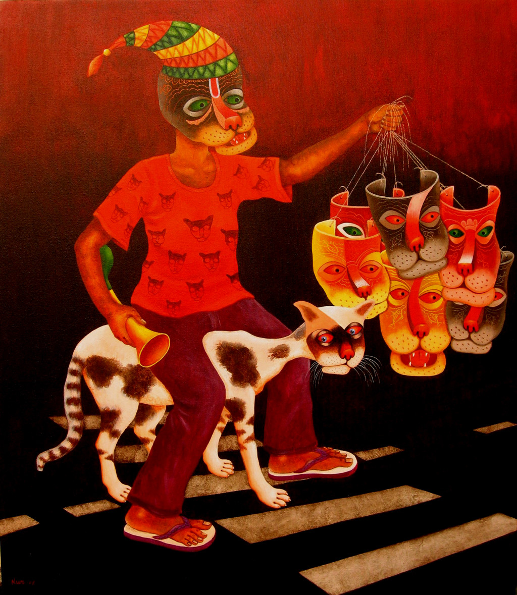 DREAM SELLER by SK NUR ALI, Decorative Painting, Acrylic on Canvas, Brown color