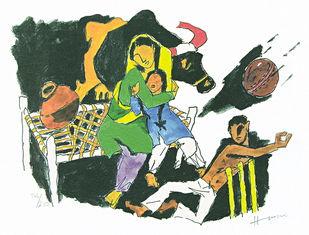 IQBAL by M F Husain, Impressionism Printmaking, Print on Paper, Green color