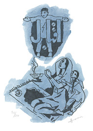IQBAL by M F Husain, Illustration Printmaking, Print on Paper, White color