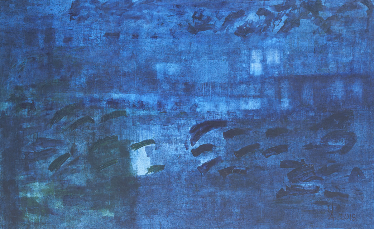 Mindscape 3 by Prakash Bal Joshi , Impressionism Painting, Acrylic on Canvas, Blue color