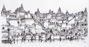 VIRASAT by Natu Mistry, Illustration Drawing, Ink on Paper, Gray color