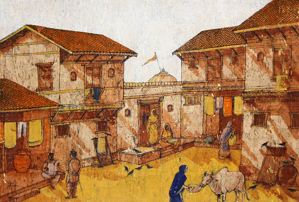 VIRASAT by Natu Mistry, Realism Painting, Mixed Media on Paper, Brown color