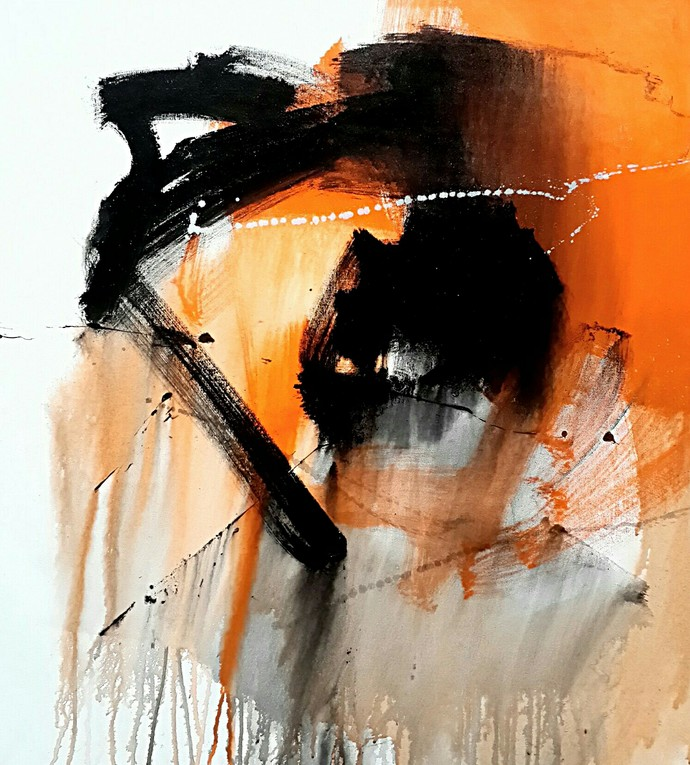 untitled by Gulrez Ali, Abstract Painting, Acrylic on Canvas, Beige color