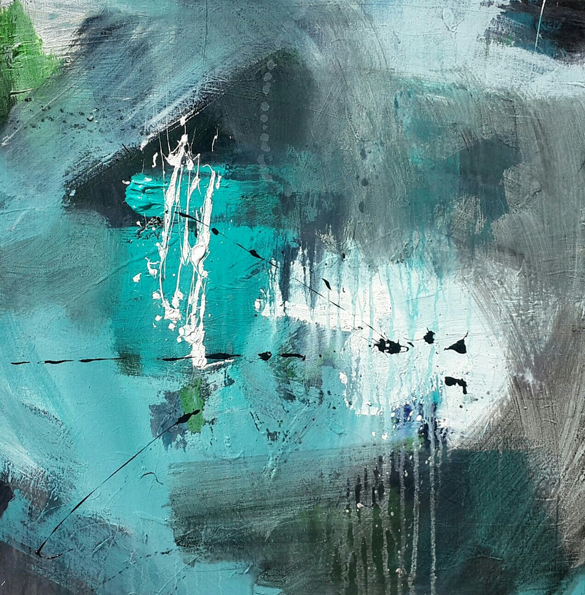 untitled by Gulrez Ali, Abstract Painting, Acrylic on Canvas, Green color