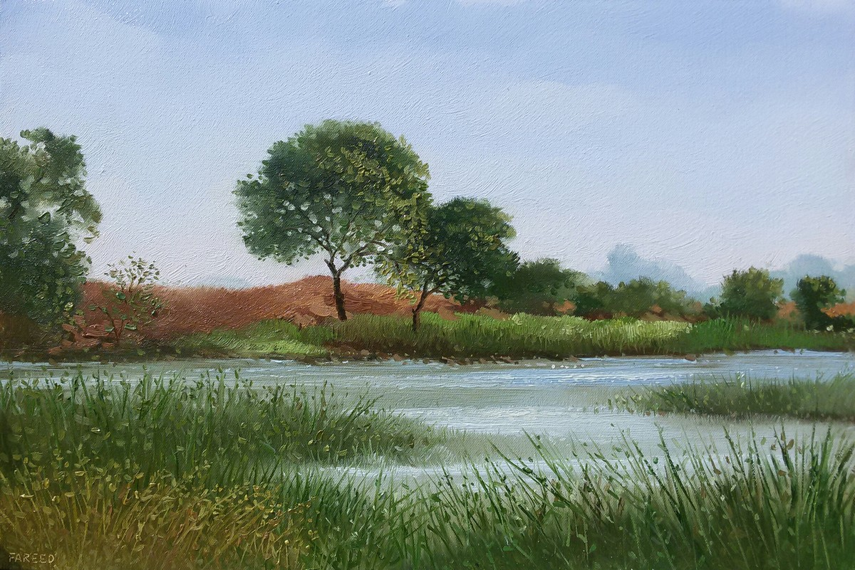pond by Fareed Ahmed, Impressionism Painting, Oil on Canvas Board, Green color